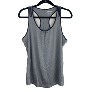 gray racerback athletic workout performance tank